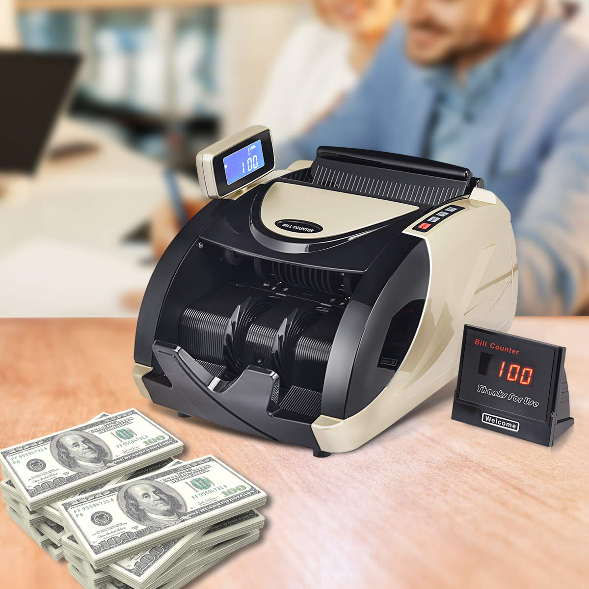 Black with Rotatable LED Display Goplus Money Counter Worldwide Currency Cash Bill Counting Machine Detector W//UV /& MG Counterfeit Bill Detection
