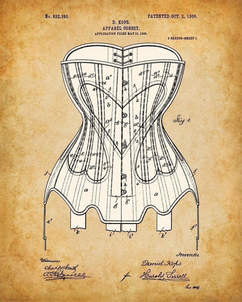 Original Corsets Patent Art Prints - Set of Four Photos (8x10) Unframed - Makes a Great Gift Under $20 for Goth, Pinup… 5
