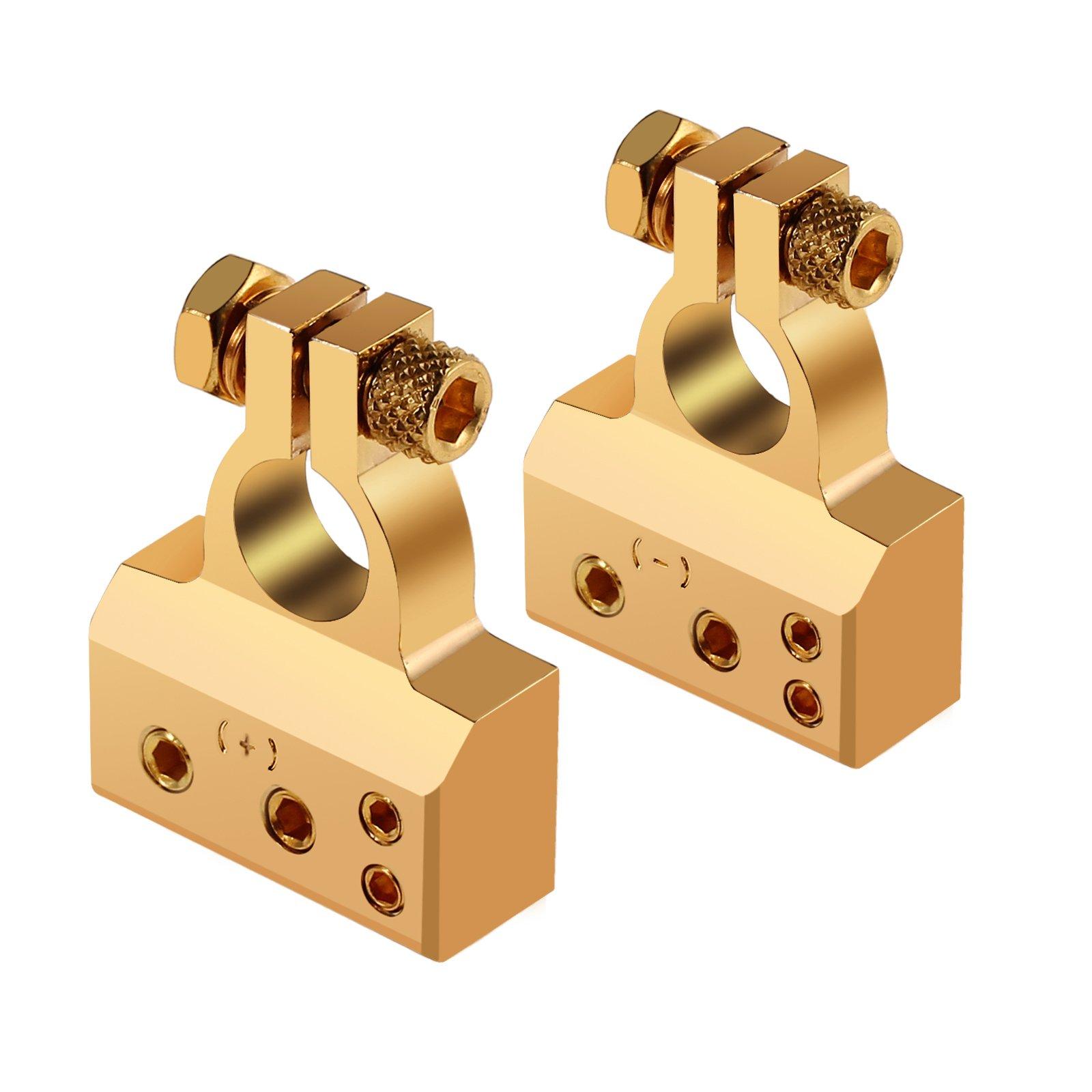 AUTOUTLET 2PCS Car Battery Terminal Connectors Kit 4/8 Gauge AWG Positive & Negative Chrome Battery Terminals Gold