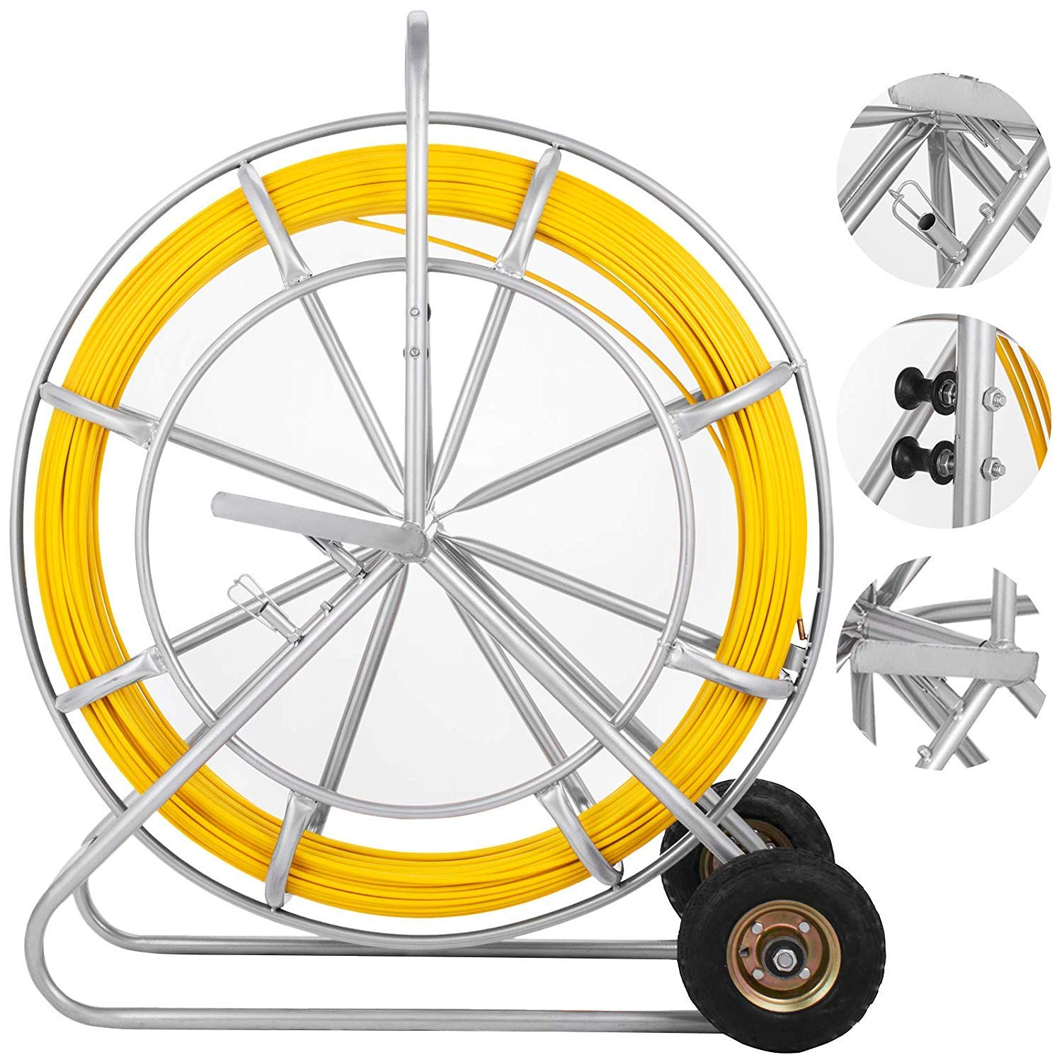 VEVOR Fish Tape Fiberglass 8MM 853FT Duct Rodder Fish Tape Continuous Fiberglass Tape Wire Cable Running with Cage and Wheel Stand