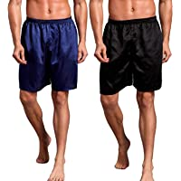 Admireme Mens Satin Boxer Shorts Silk Pajamas Shorts Sleepwear Boxers Underwear Beach Shorts