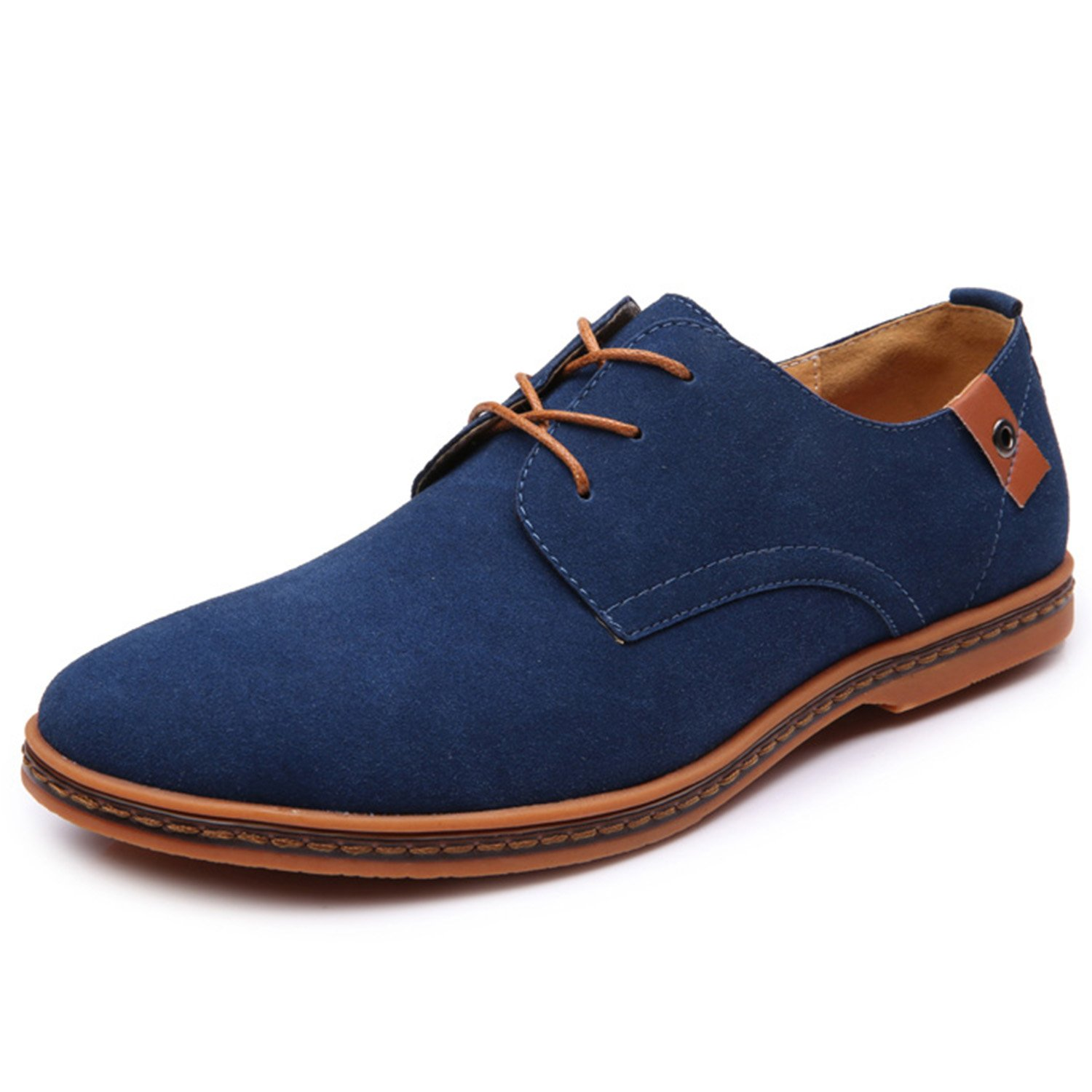 Mens Casual Suede Shoes Classic Leather Business Office Oxford Dress Shoes(US 9.5, Blue)