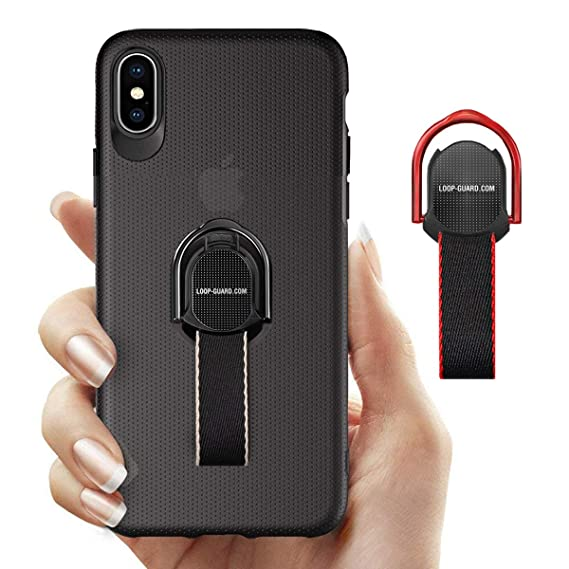info for 7fb24 63c90 iPhone Xs Max Case with Finger Strap & Ring Stand Holder, Black Hard Thin  Cover with Loop Grips for Apple iPhone Xs Max, Works with Magnetic Mount &  ...
