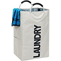 HOMEST Single Laundry Hamper Soft Handle Foldable Closet Dirty Clothes Basket