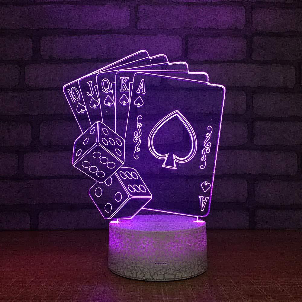 4 PACK, 3D optische Illusion Nachtlicht Poker LED Tisch Schreibtischlampe 7 Farbe automatisch wechselnden USB-Ladegerät Powerotfor Baby Schlafzimmer Dekoration Kinder Geschenk