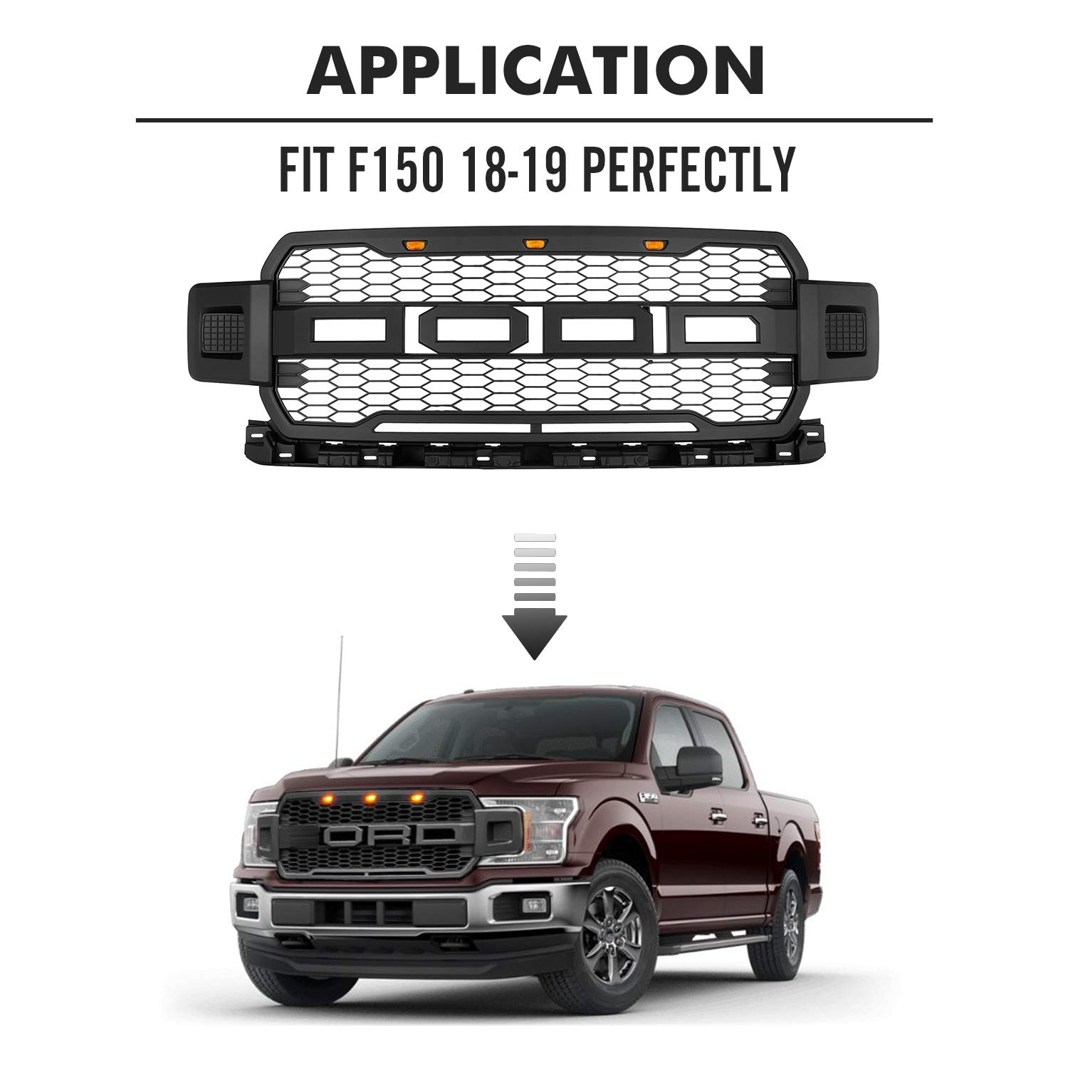 Raptor Style Grill for Ford Matte Black Seven Sparta Front Grill for F150 2018 2019