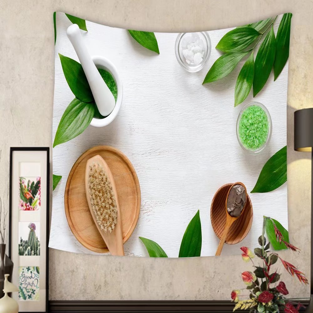Madeleine Ellis Custom tapestry spa cosmetic products concept spa background with a space for a text flat lay view from above