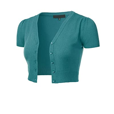FLORIA Womens Button Down Short Sleeve Cropped Bolero Cardigan Sweater (S-4X) at Women's Clothing store