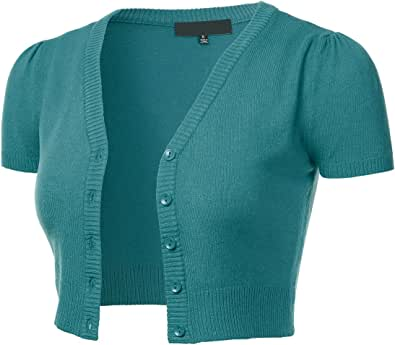 FLORIA Womens Button Down Short Sleeve Cropped Bolero Cardigan Sweater (S-4X)