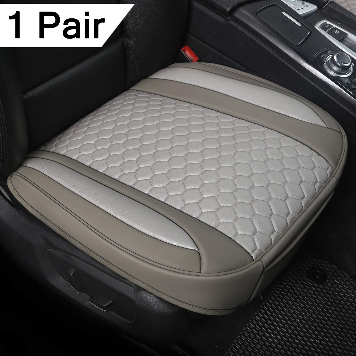 Black Panther 1 Pair Luxury PU Leather Car Seat Covesr for Front Seats Mixed Beige Bottom 21.26/×20.86 Inches ,Compatible with 90/% Vehicles