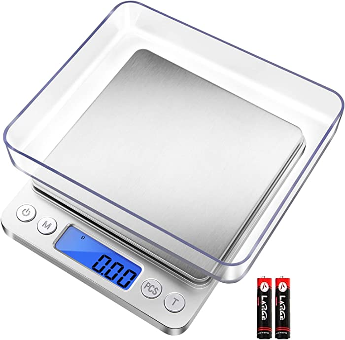 Fuzion Digital Kitchen Scale, 500g/ 0.01g Small Jewelry Scale, Food Scales Digital Weight Gram and Oz, Digital Gram Scale with LCD/ Tare Function for Jewelry, Nutritional Intake, Battery Included