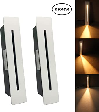 Lámpara LED empotrable para escalera, 220 V, para interiores, esquina, decoración de escalones, pasillo, escalera, lámpara con chip CREE, 2 piezas, Warm White, Blanco: Amazon.es: Iluminación