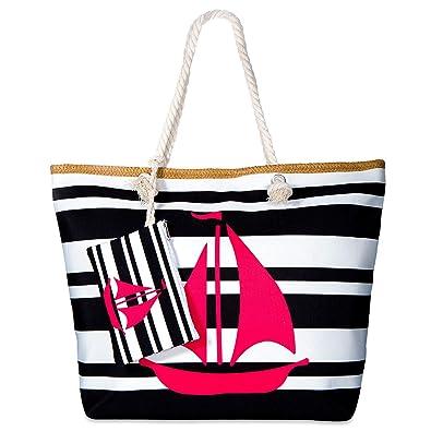 Vordas Welecoco Bolsa de Playa Bolsa Playa Grande Mujer Lona, Bolsa Playa Grande con Cremallera XXL (Tamaño Perfecto 55 x 39 x 16.5 cm), Ideal para la ...