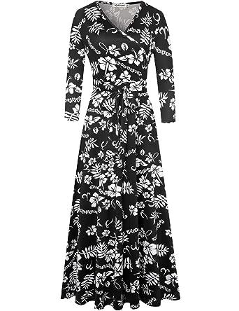 adb558719dc Aphratti Women s Bohemian 3 4 Sleeve Vintage Faux Wrap Long Maxi Dress  Small Black
