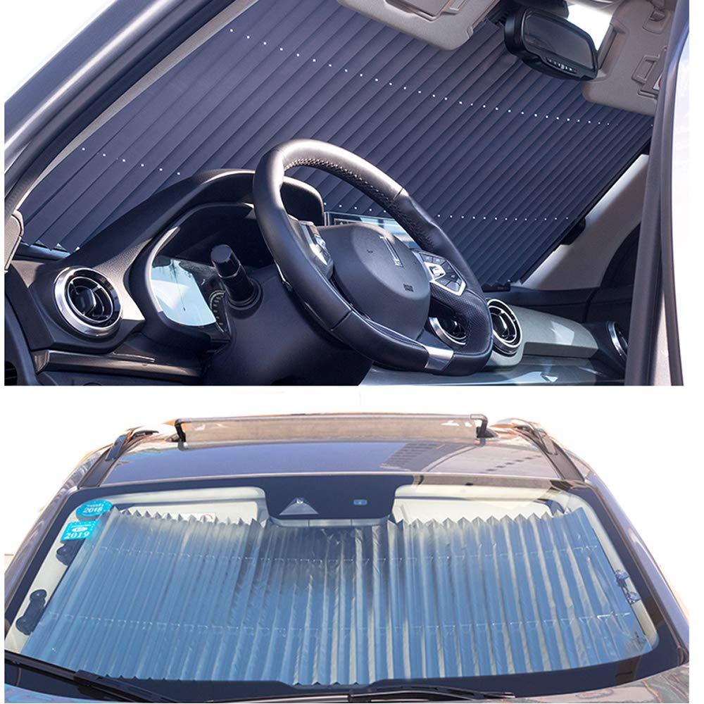 FBARTL Versenkbare Auto Windschutzscheibe Visor Shutter Typ Fenster Sonnenschutz Rollos Windschutzscheibe Sun Shades Anti UV Sonnenblenden