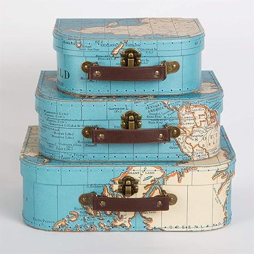 Sass & Belle – Juego 3 de maletas con diseño de mapamundi