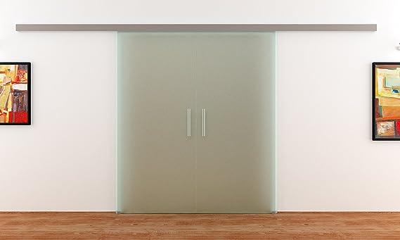 Dorma puertas correderas-Planta con 2 alas | 2 x 1025 x 2050 mm 8 mm de vidrio totalmente-satinado | Barras de mangos de acero inoxidable de movimiento de carril: Dorma ágil 50