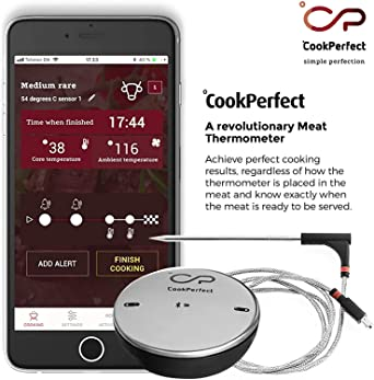 Amazon Com Cookperfect New Smart Wireless Meat Thermometer With 400ft Bluetooth Range For The Oven Grill Kitchen Bbq Smoker Rotisserie With Bluetooth And Wifi Stove Digital Connectivity 1 Probe Included Industrial Scientific