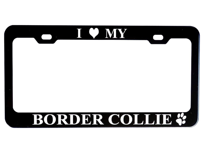GoPlates License Frames GP-BLK02 License Plate Frame Black, I Love My Border Collie Anodized Aluminum