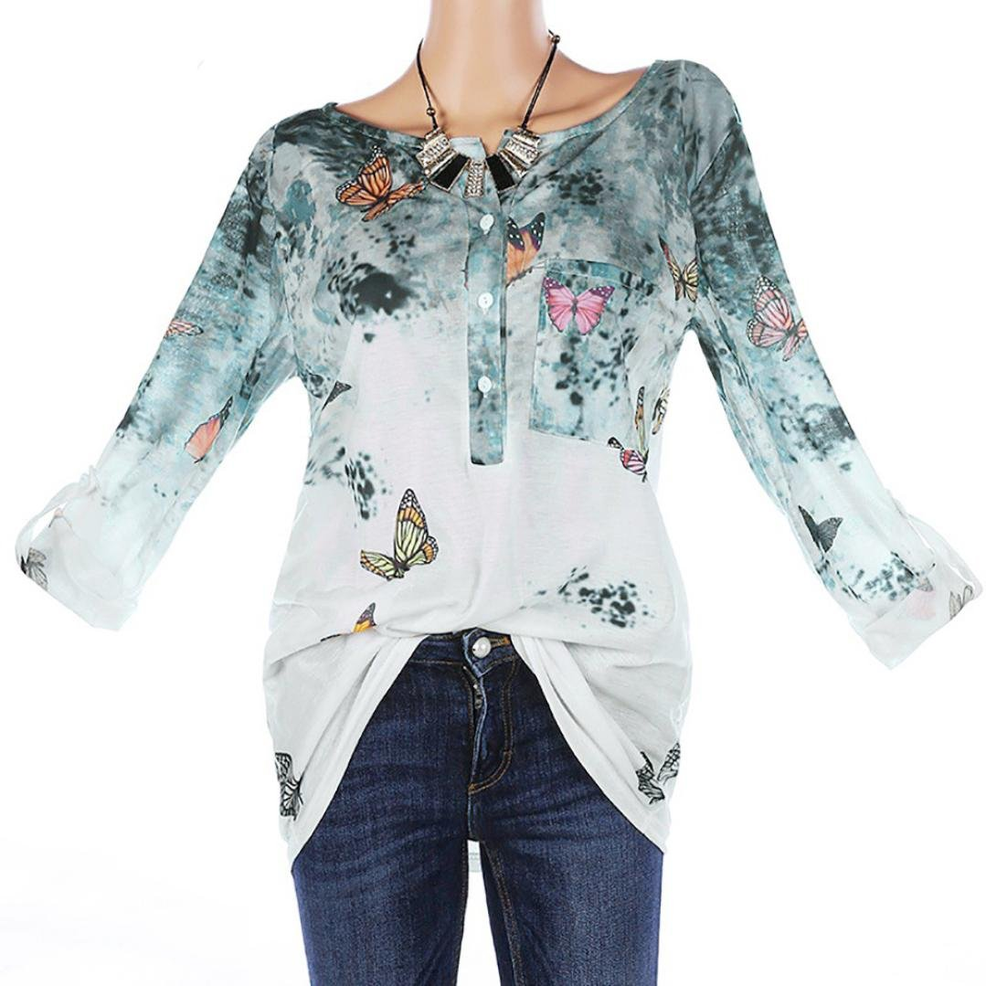 vermers Clearance Women Plus Size T Shirts - Womens Fashion Floral Print Button Long Sleeve Blouse Pullover Tops(4XL, Green)