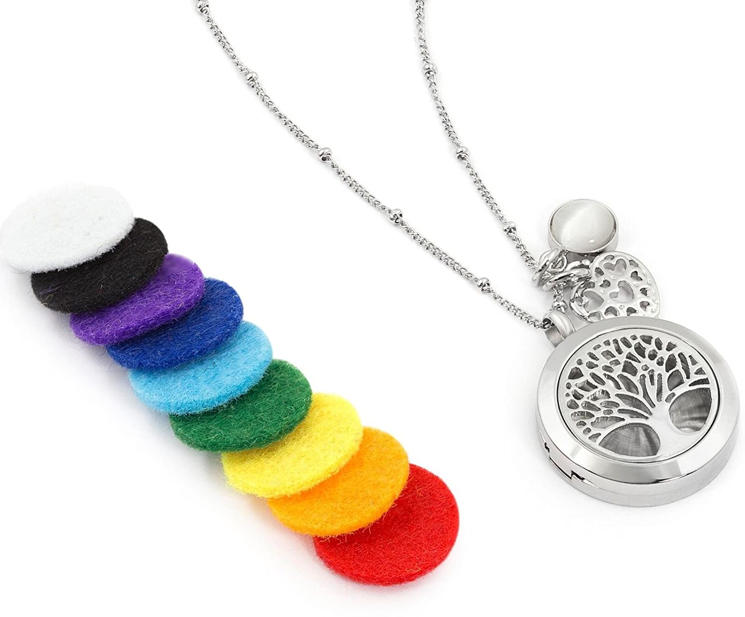 """97fb47303f Amazon.com: Aromatherapy Essential Oil Diffuser Necklace Jewelry -  Aromatherapy Jewelry - Hypoallergenic 316L Surgical Grade Stainless Steel,  20.8"""" Chain + ..."""