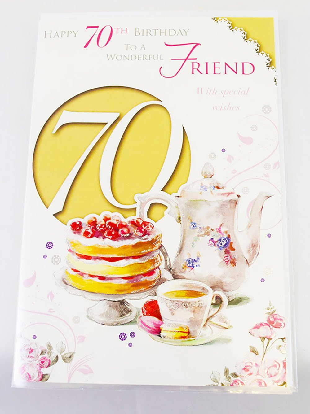 Happy 70th Birthday Friend Elegant Traditional Verse Quality 70 Greeting Card Amazoncouk Office Products