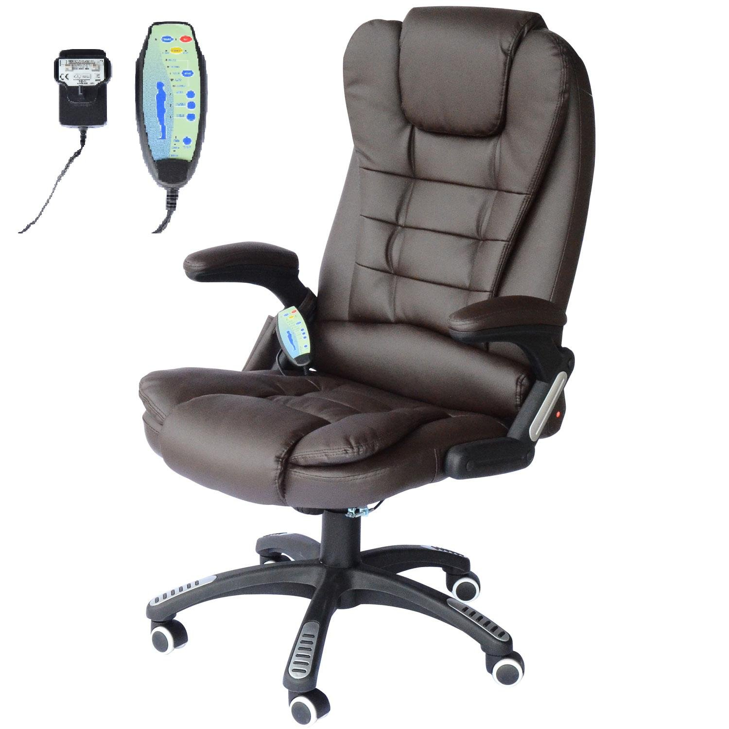 Homcom Deluxe Reclining Faux Leather Office Computer Chair 6 Point Massage High  Back Desk Work Swivel Chair Brown: Amazon.co.uk: Garden U0026 Outdoors