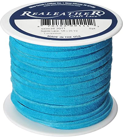 Realeather SOS25 2011 Sof-Suede Lace Spool 1//8 x 25 yd Turquoise