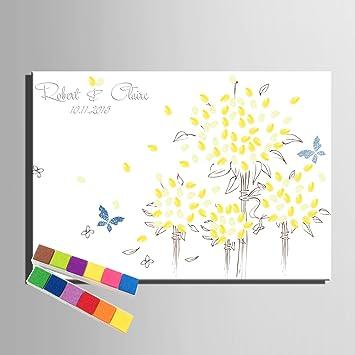 Fingerabdruck Signature Leinwand Print Blumen Und Schmetterlinge