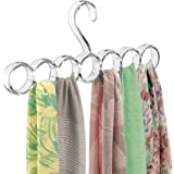 mDesign Scarf Closet Hanger, No Snag Storage for Scarves, Ties, Belts, Shawls, Pashminas, Accessories - 7 Loops, Clear
