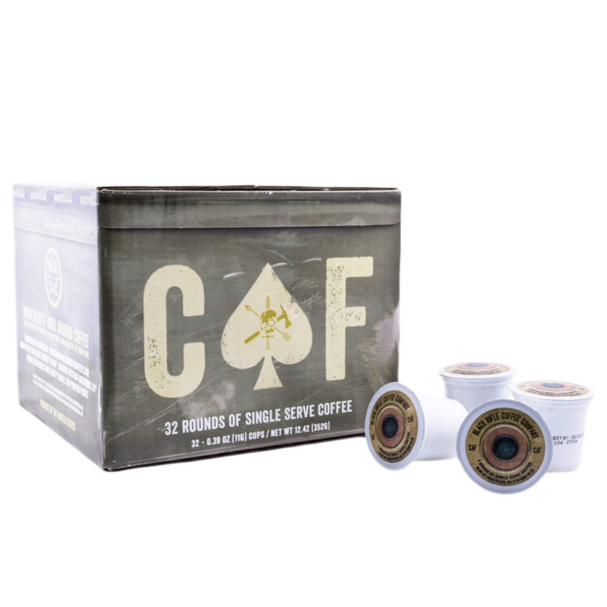 Black Rifle Coffee Company CAF Caffeinated AF Single Serve Capsules, for single serve coffee makers(32 Count)