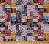 Cotton American Homecoming State License Plates Vintage Cotton Fabric Print by the Yard (p4294-119-vintage)