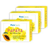 PuraGenic Papaya Skin Whitening Soap, 75gm - Combo Pack of 3, Bathing Bar Contains Papaya Extract, Kojic acid and Vitamin E for men and women