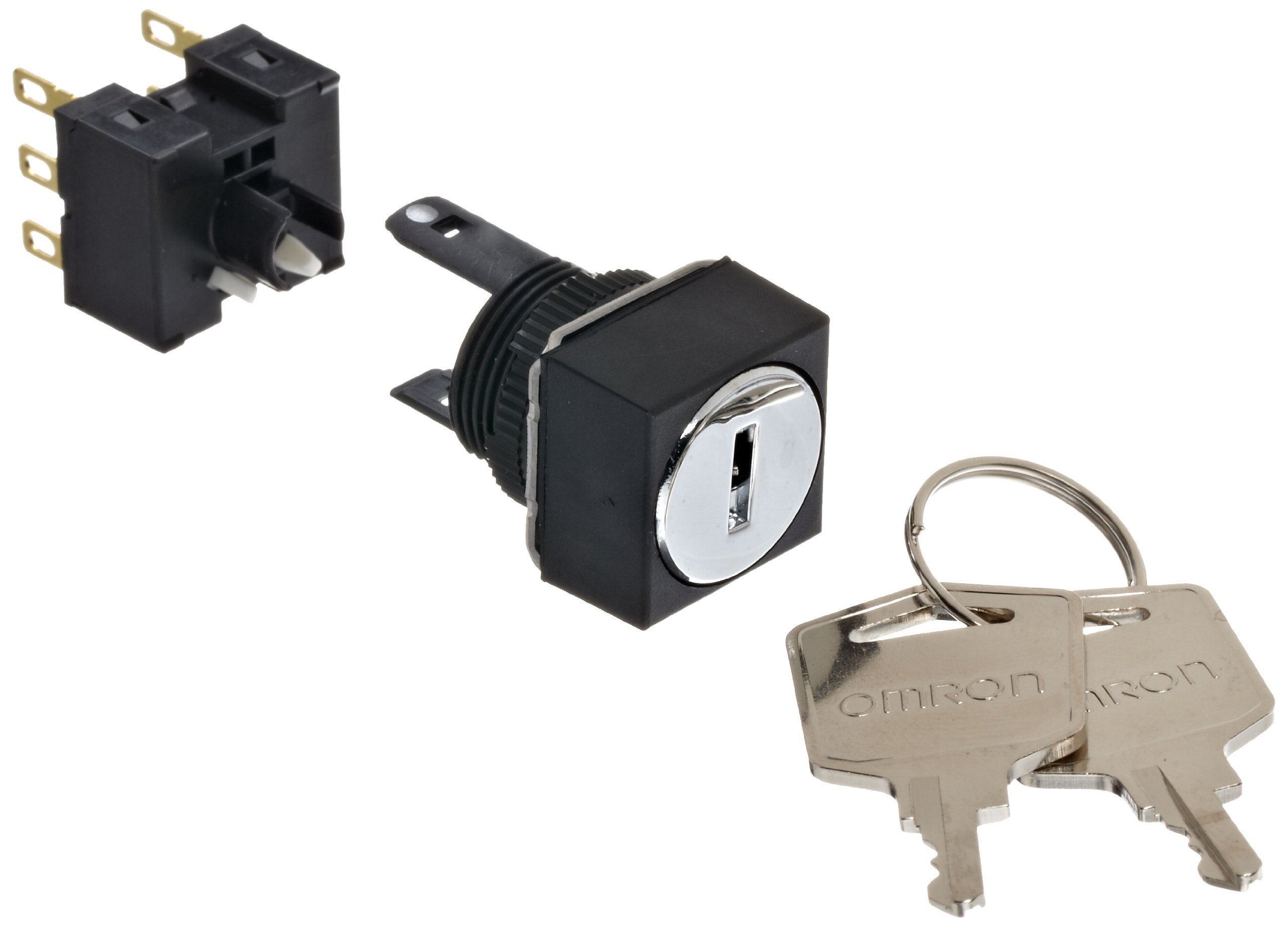 Omron A165K-A3MC-2 Key Type Selector and Switch, Solder Terminal, IP65 Oil Resistant, 16mm Mounting Aperture, 3 Notches, Manual Reset Method, Center Key Release Postion, Square,Double Pole Double Throw Contacts
