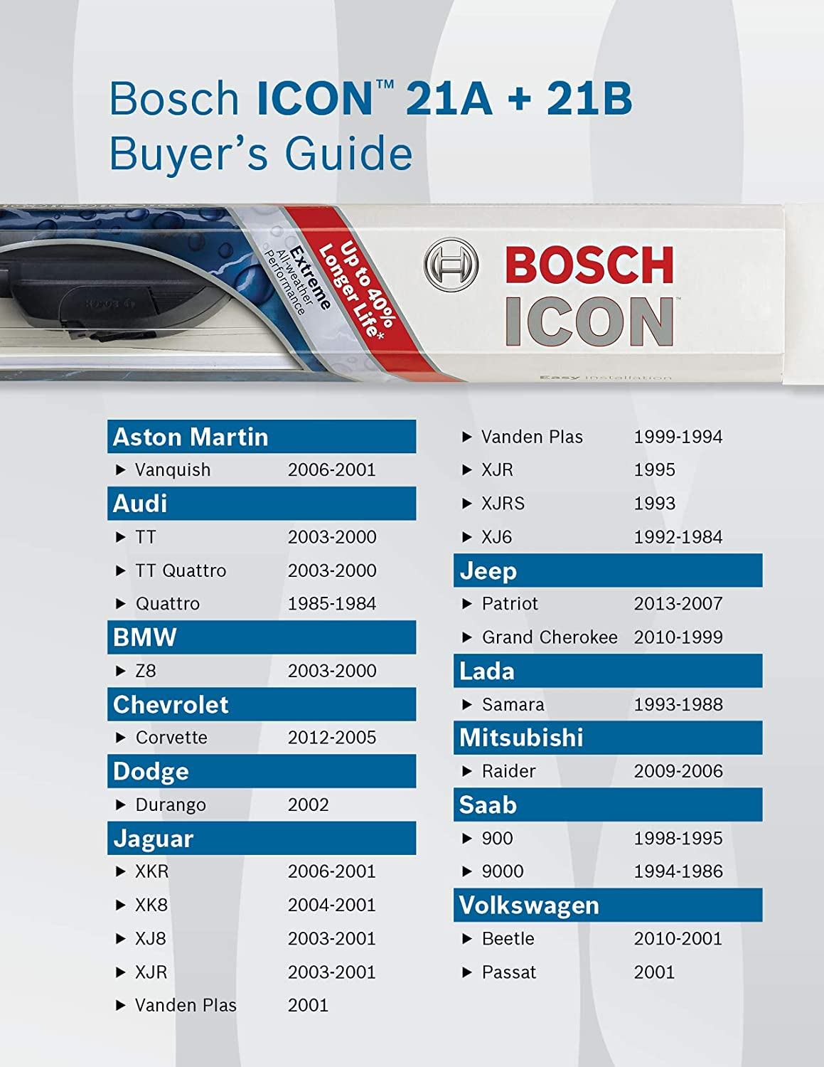 Pack of 1 21 Bosch ICON 21B Wiper Blade Up to 40/% Longer Life
