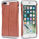 [Fine Finish] iPhone 7 plus Holz-Hülle für Handy, Coolway® Holz und Aluminium-Legierung Einzigartige DIY Handgemacht, Gewicht Dauerhalfte ModeHolz Edles Holz Taschen für iPhone 7 plus (Rosen-Holz)