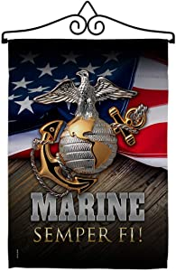 Marine Semper Fi Garden Flag - Set Wall Hanger Armed Forces Corps USMC United State American Military Veteran Retire Official - House Banner Small Yard Gift Double-Sided Made in USA 13 X 18.5