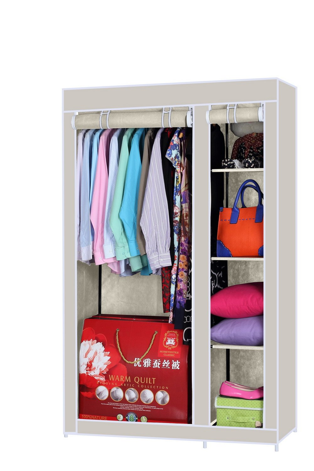 Due-home 2-Door Wardrobe Finished in Canvas Fabric, Beige Action: & # x2194; 110& # X2195; 175& # x2197; 45cm