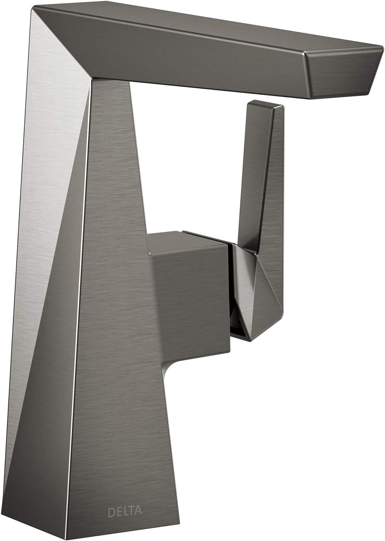Delta Faucet 643-KS-DST Trillian Handle Mid-Height Bathroom Faucet Single Hole, Black Stainless