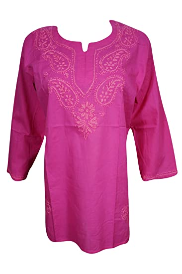 Amazon.com  Pink Pure Cotton Hand Embroidered Tunic