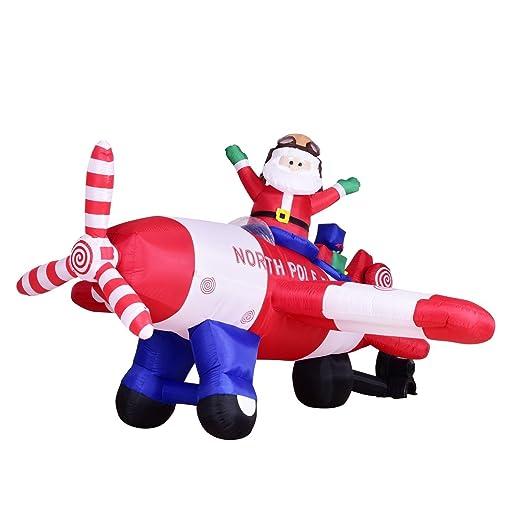 Hinchable de Papá Noel en avión de Navidad kemperking 8-Feet ...