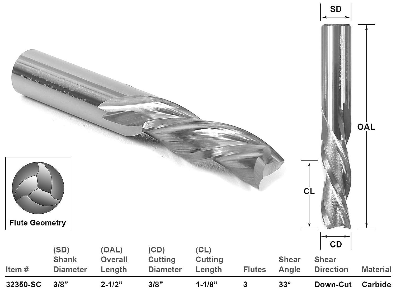 Yonico 32312-SC Down Cut 3 Flute CNC Router Bit 5//32 x 5//8