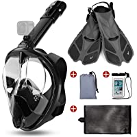 Odoland 5-in-1 Snorkeling Packages, Full Face Snorkel Mask with Adjustable Swim Fins, Lightweight Backpack and…