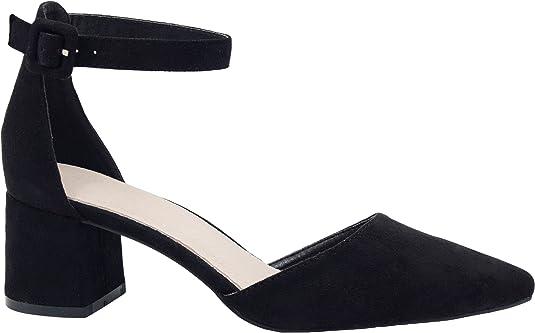 TALLA 40 EU. Greatonu Zapatos de Tacón Ancho con Tiras Traseras Mujer