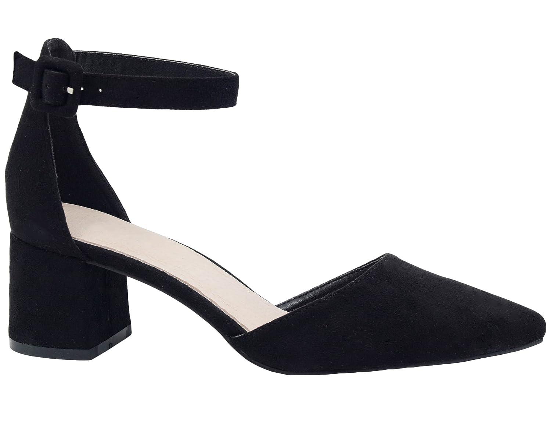 Greatonu da donna a punta Mid blocco tallone caviglia sandali con il taccoBlack