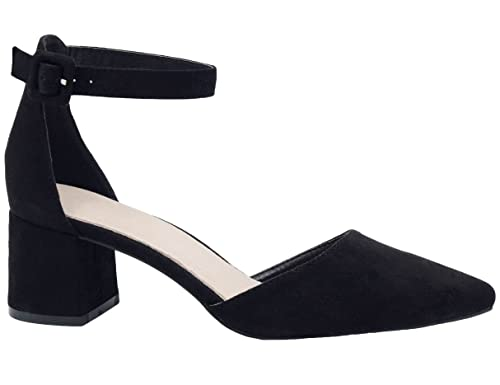 f57959551c007 Greatonu Womens Black Block Heel Pointed Toe Strap Sandals Court Shoes Size  3 UK 36