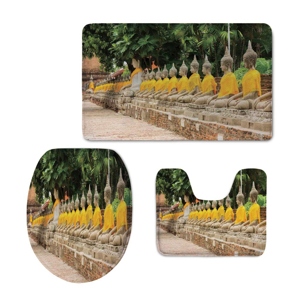 iPrint Bath Rug Set,Asian Decor,Picture Religious Statues in Thailand Traditional Thai Home Decor Decorative,Cream Yellow Green,Non-Slip Soft Absorbent Bath Rug by iPrint