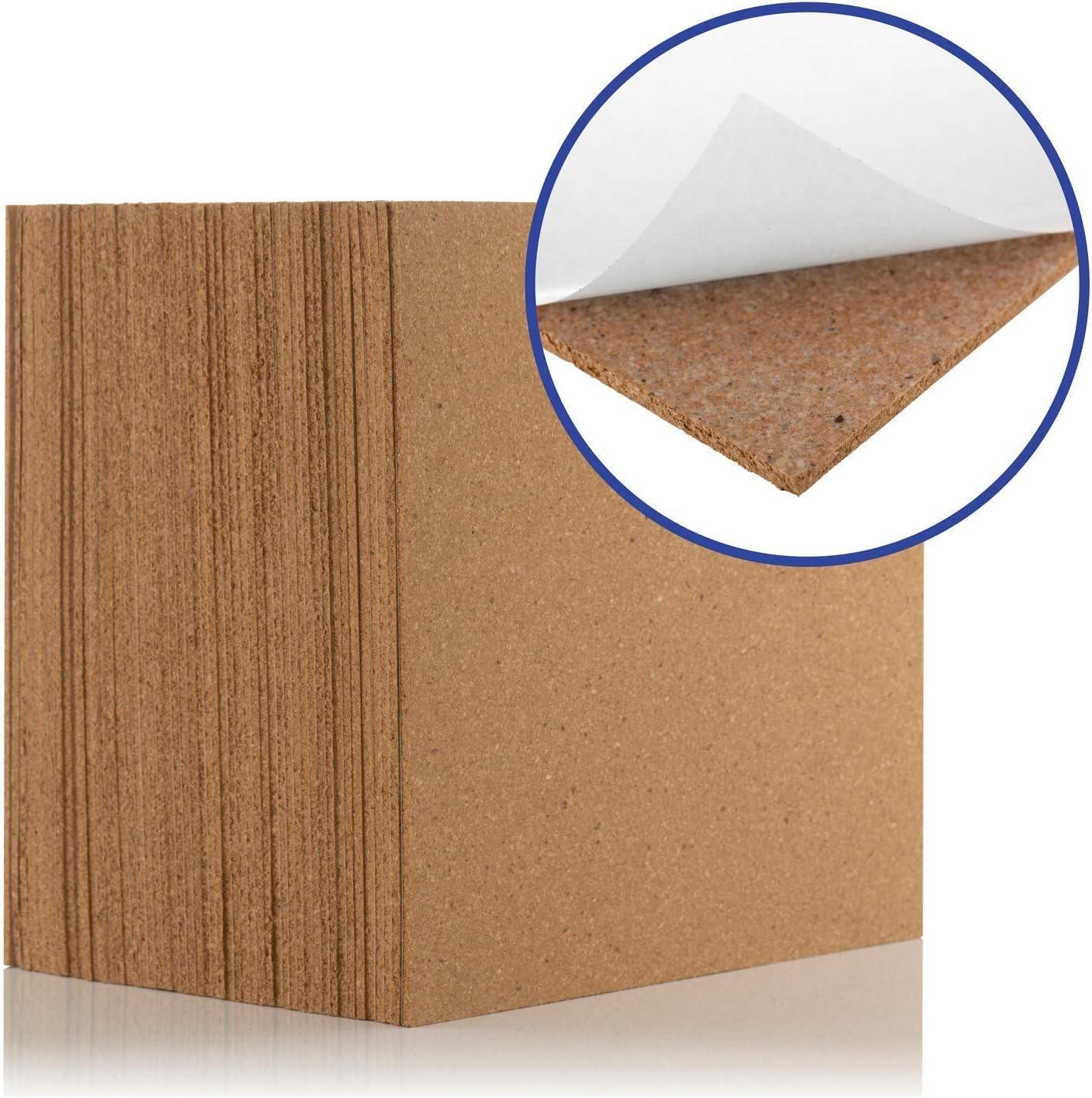 Azulejos de corcho autoadhesivos (0,81 m² de cobertura) – Natural 300 x 300 mm, azulejos ideales para suelos, paredes, bricolaje, tableros de pines y proyectos de manualidades actúa como prueba de son