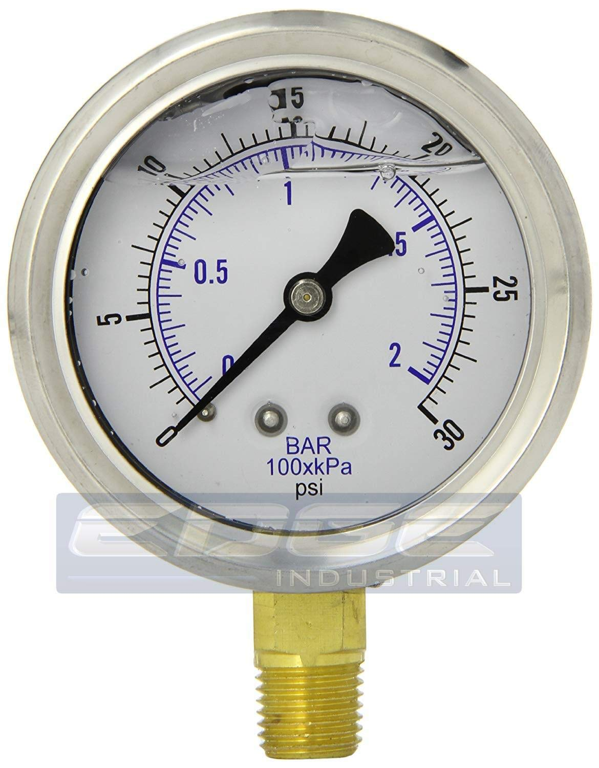 "Stainless Steel Lower Mount Liquid Filled Pressure GAUGE, 2.5"" FACE/DIAL, Rated WOG, 1/4"" Male NPT, Range 0-30 PSI (Qty 01)"