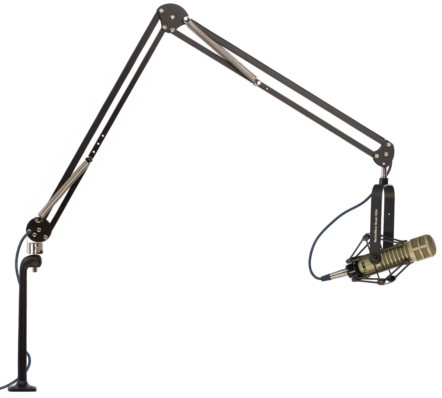 Elite Two Section Mic Arm with 12'' Cast Aluminum Riser, 45'' (114.3 cm) Reach, Holds Up to 2.5 lbs., Black/Chrome